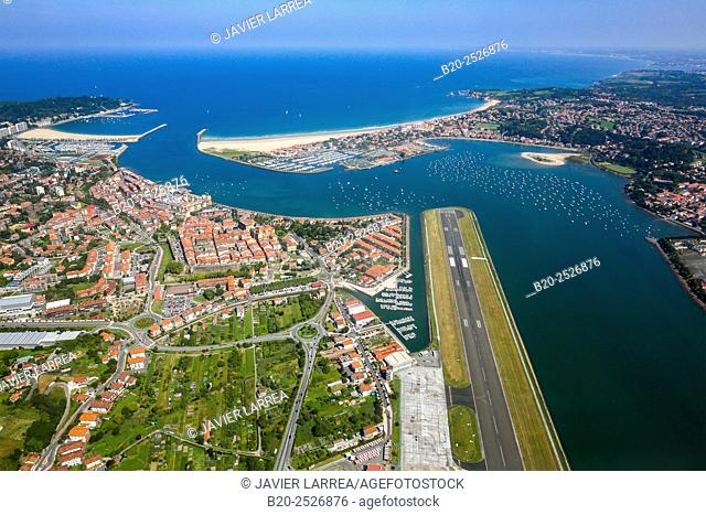 Aerial view. Bidasoa river mouth, Txingudi Bay. Hondarribia (Spain, in foreground) and Hendaye (France, in background). Europe