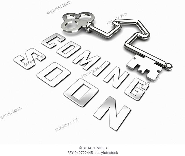 Coming Soon Key Shows Upcoming Real Estate Property Available. Realty Ownership Project Upcoming - 3d Illustration