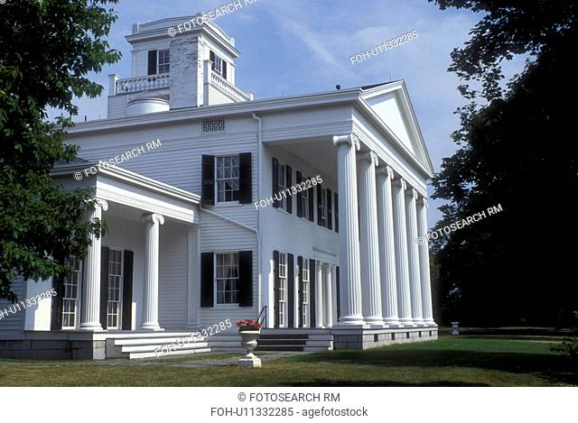 New York, Finger Lakes, Rose Hill Mansion, circa 1839, in Geneva is a Greek Revival home