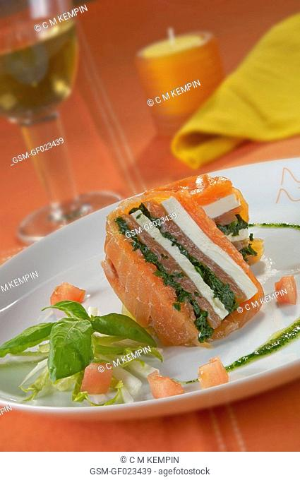 Smoked salmon, green cheese, and spinach millefeuille pastry