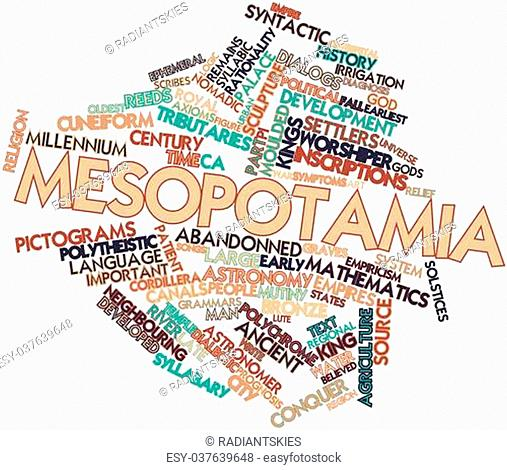 Abstract word cloud for Mesopotamia with related tags and terms