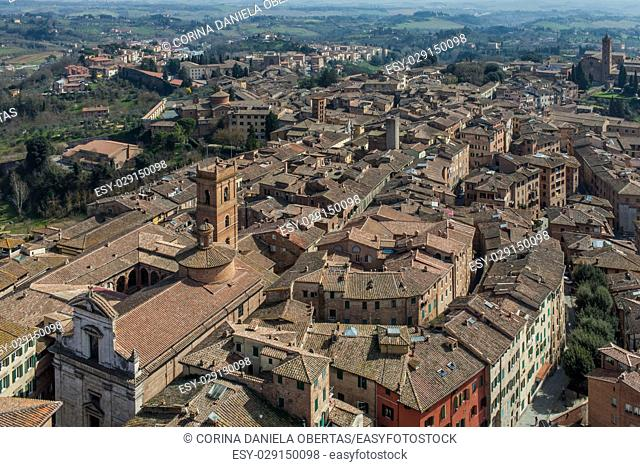 View above Siena from Mangia Tower in Piazza del Campo, Tuscany, Italy