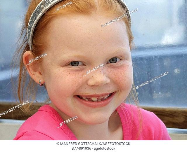 smiling 7year old girl, portrait