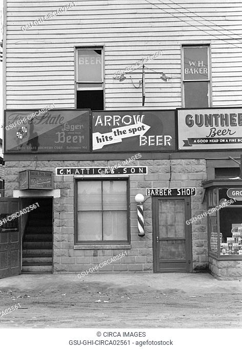 Barber Shop and Pool Hall, Berwyn, Maryland, USA, John Vachon for Farm Security Administration, September 1937