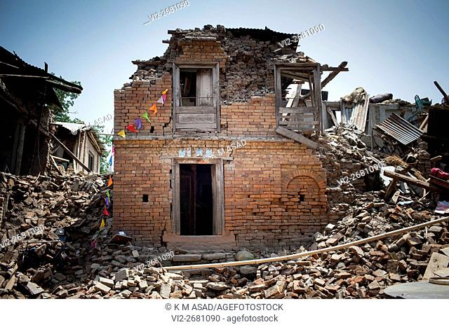 An empty house damaged after a massive earthquake magnitude-7. 8 hit the country In Bhaktapur, Kathmandu, Nepal May 01, 2015