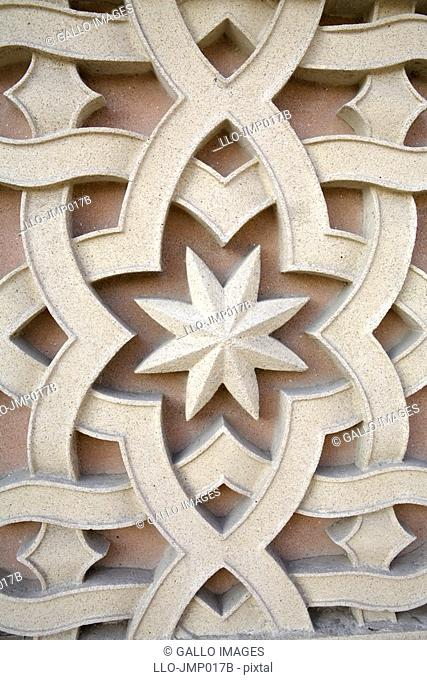 Naqsh decoration, geometric architectural detail with stars  United Arab Emirates