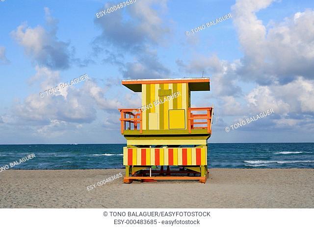 Lifeguard houses protected beaches in Miami Beach Florida
