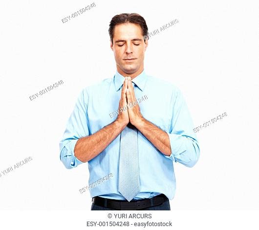 Portrait of mature business man praying isolated on white background