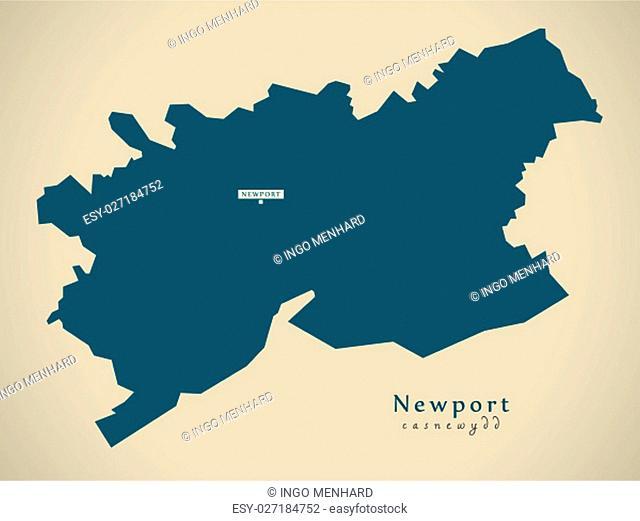 Modern Map - Newport Wales UK illustration