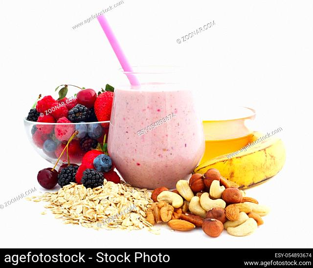 Breakfast smoothie ingredients in glass, cooking making concept, isolated on white background. Milkshake. Protein diet. Healthy food concept