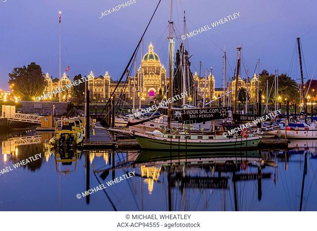 The Inner Harbour and reflection of the B.C Legislature, Victoria, Vancouver Island, British Columbia, Canada