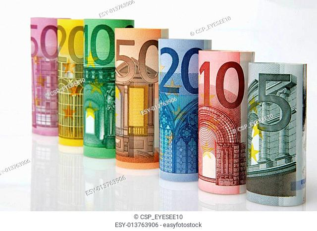 Rolls of Euro bank notes
