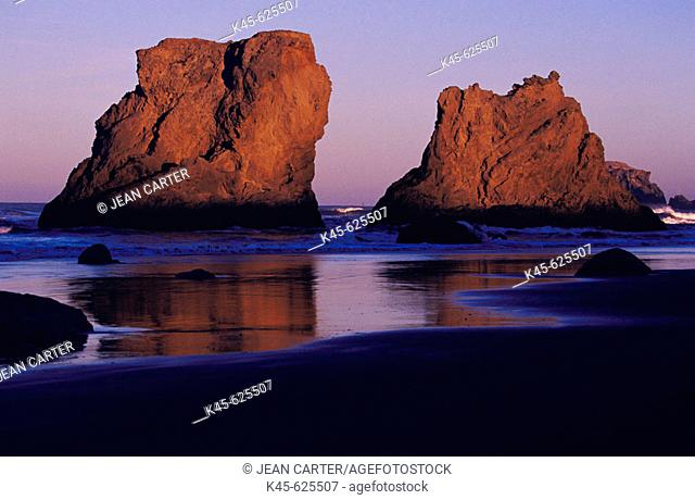 Sea stacks on the beach at Bandon in early morning light, Southern Oregon coast, USA