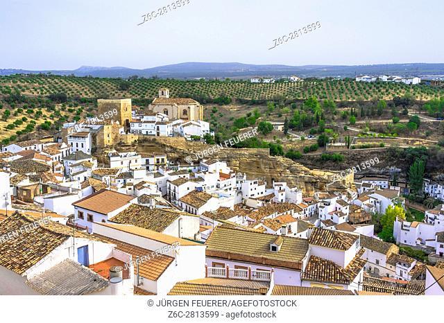 village Setenil de las Bodegas; white houses under rocks, province of Cádiz, Andalusia, Spain