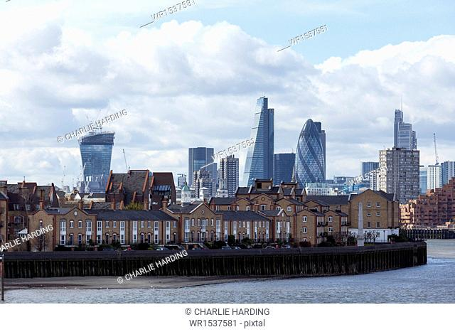View of the City of London skyline, including the Gherkin and the Walkie Talkie buildings, taken from Canary Wharf, London, England, United Kingdom, Europe
