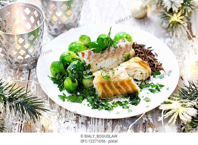 Cod with cabbage Brussels sprouts
