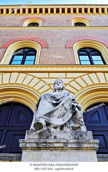 Aristotle in front of the Bavarian State Library, Munich, Bavaria, Germany, Europe