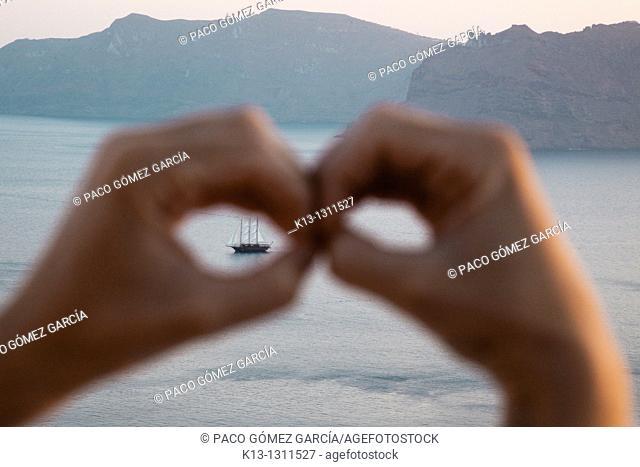 Sailboat  Santorini  Cyclades Islands  Greece