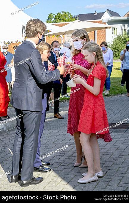 Princess Elisabeth, Prince Gabriël, Prince Emmanuel and Princess Eléonore of Belgium at the Cecilia residential care center in Alken, on July 21, 2020