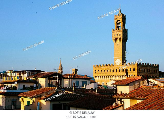 View over rooftops of Florence Town Hall, Florence, Tuscany, Italy