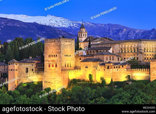 Alhambra in the Evening, Granada, Andalusia, Spain