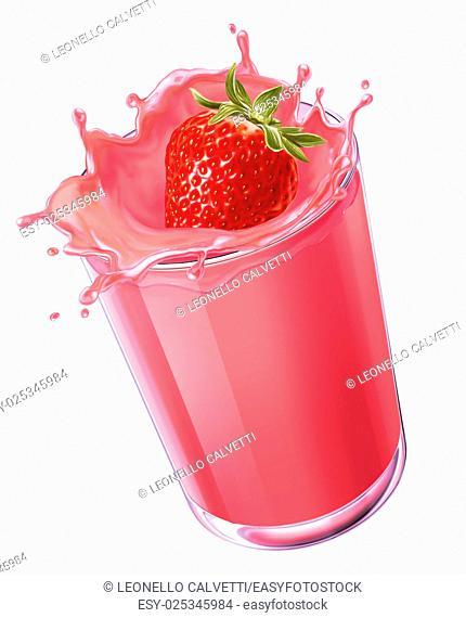 strawberry splashing in a creamy red liquid into a glass