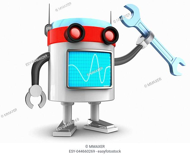3d illustration of robot with wrench over white background