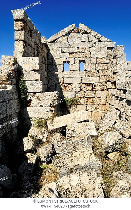 byzantine house ruin at the archeological site of Ba'uda, Baude, Baouda, Syria, Middle East, West Asia