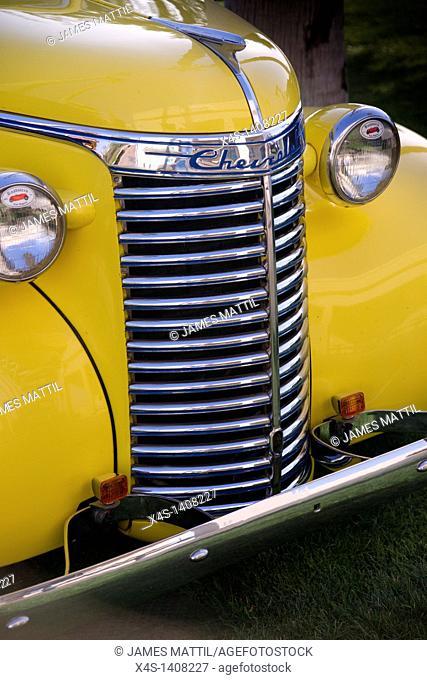 Close-up of a classic automobile