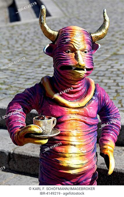 Horned creature with coffee cup, fantastic figure by Christine Müller, Rondeau-Platz square in the Vienna Prater or Wurstelprater, Vienna, Austria