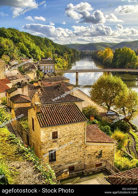 old town and Lot River, Puy-lEveque, Lot Department, Occitanie Region, France