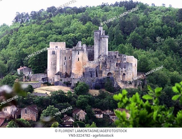 villade nature, vue d'ensemble, france, lot-et-garonne, chateau de bonaguil médiéval