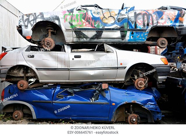 car wrecks in a junkyard