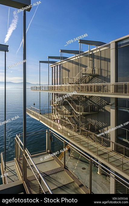 Botin Center Modern museum Art and Culture. Botin Foundation, architect Renzo Piano. Santander, Cantabrian Sea. Cantabria, north Spain. Europe