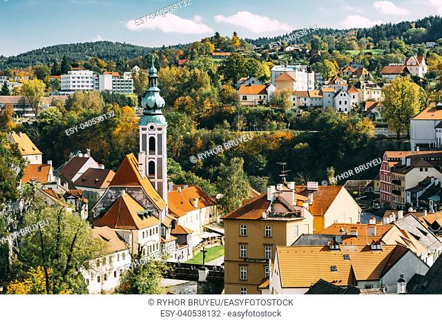 Cityscape of Cesky Krumlov, Czech republic. Sunny autumn day. UNESCO World Heritage Site