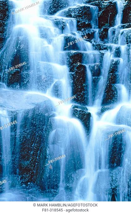 Waterfall. Rivulets of water over rocks. Yorkshire. UK