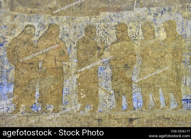 Uzbekistan, Unesco World Heritage Site, Samarkand, Afrasiab museum, Ambassadors painting (7-8th C), Chamberlains and interpreter introducing Tibetan messengers