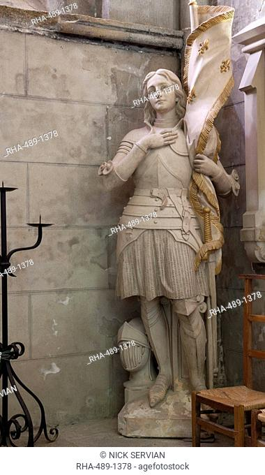 Statue of St. Joan of Arc, Dol Cathedral, Dol de Bretagne, Brittany, France, Europe