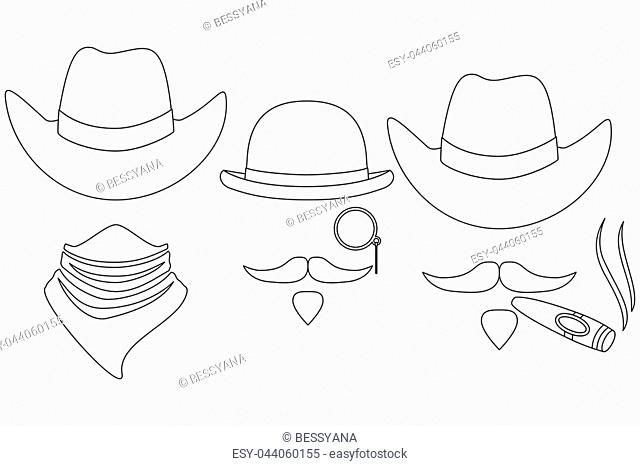 Line art black and white 3 western cowboy avatar set. Wild west vector  illustration for 5e78a3cf0e81