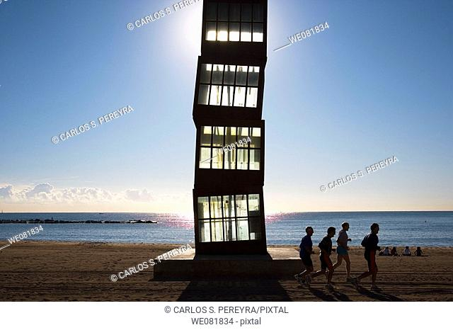 Monument to the old refleshmen stalls on the Sant Sebastia beach, Barceloneta, Barcelona. Catalonia, Spain