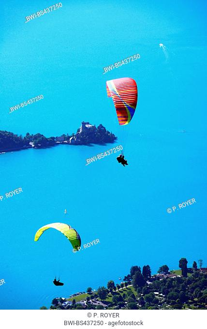 paragliders over lake of Annecy, France, Savoie, Haute Savoy