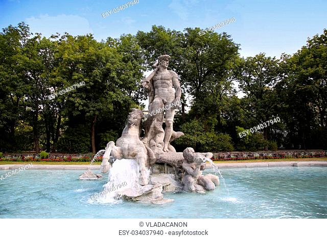 details of old botanical garden, Neptune Fountain in Munich, Germany
