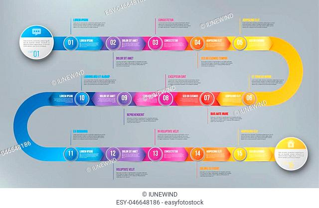 Colorful template business concept timeline arrows. Infographics layout with 15 steps, workflow history with diagram, presentation and graph