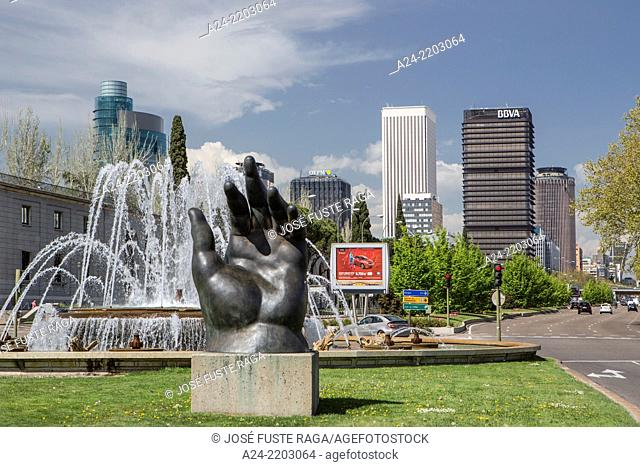 Spain ,Madrid City, Castellana Avenue., Botero hand, San Juan de la Cruz Square