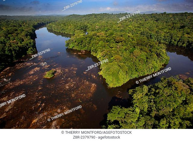 """""""""""""""""""""""Saut Athanase"""""""" on the Approuague river. Dry season. French Guiana"""