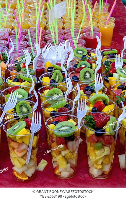Cups Of Fresh Fruit Salad For Sale, Brick Lane Sunday Market, London, UK
