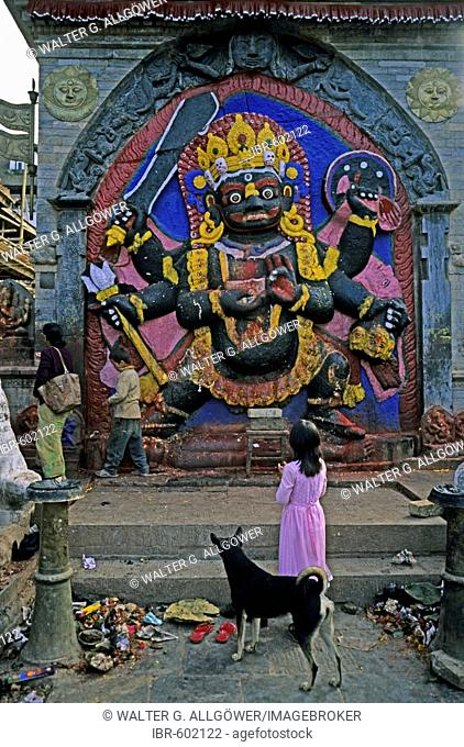 Stonework, ferocious image of the six-armed deity Bhairava standing atop the demon Vetala; in his right hand he is holding a Kapala or skullcup and with his...