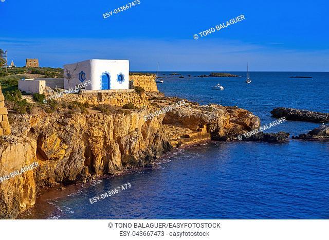 Nova Tabarca island white facades in Alicante Spain