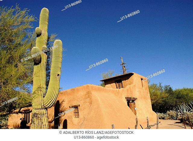 Exterior View of the Chapel at De Grazia Gallery In The Sun, Tucson, Arizona, United States