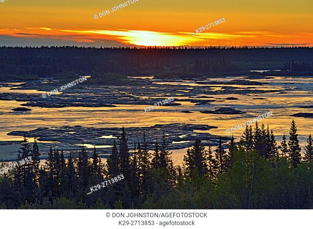 Dawn skies overlooking the Slave River and the Rapids of the Drowned, Fort Smith, Northwest Territories, Canada